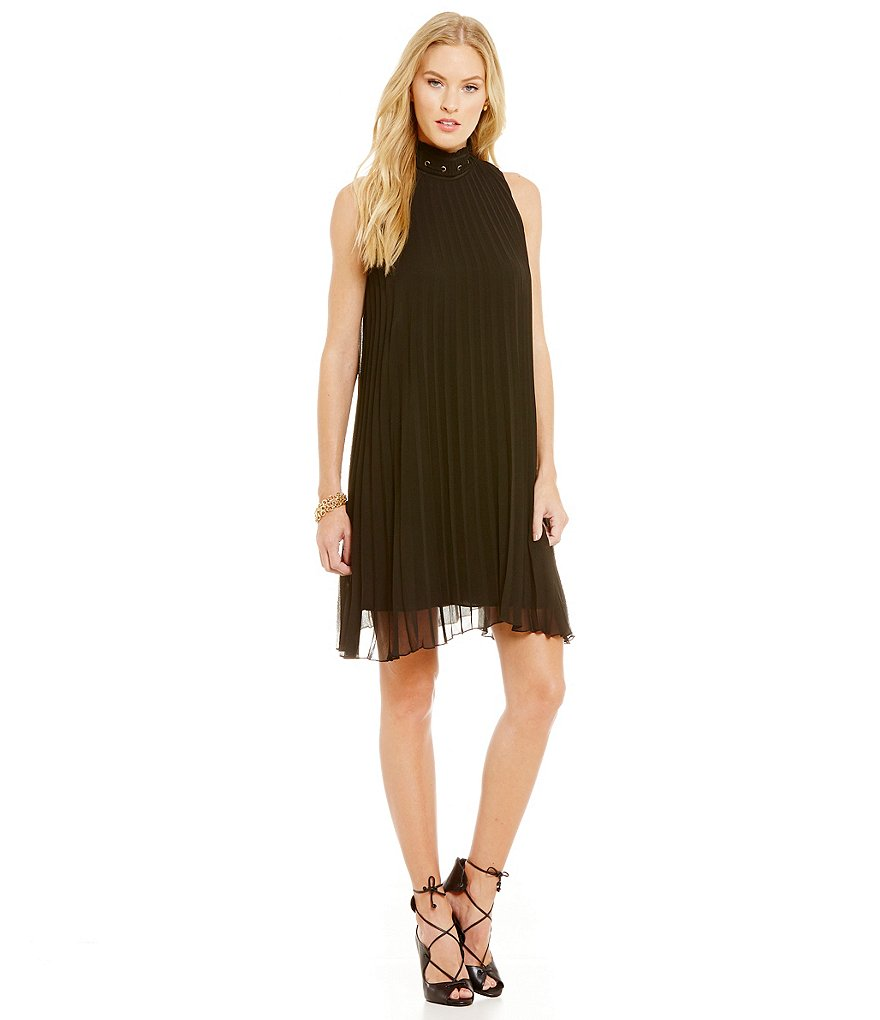 M.S.S.P. High Neck Pleated Shift Dress