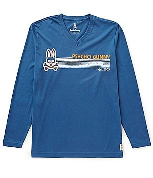 Psycho Bunny Long-Sleeve V-Neck Vail Logo Graphic Tee