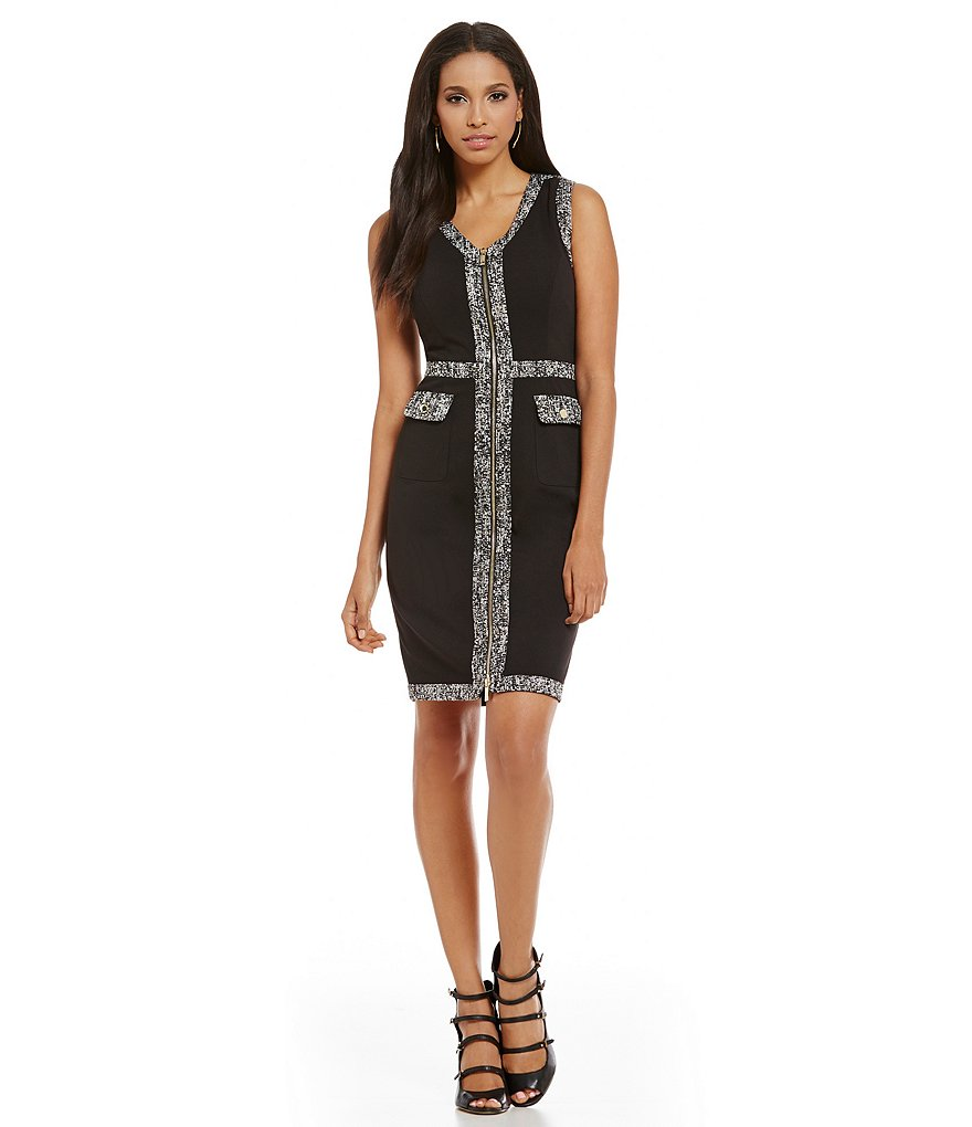 KARL LAGERFELD PARIS Tweed Trimmed Sheath Dress