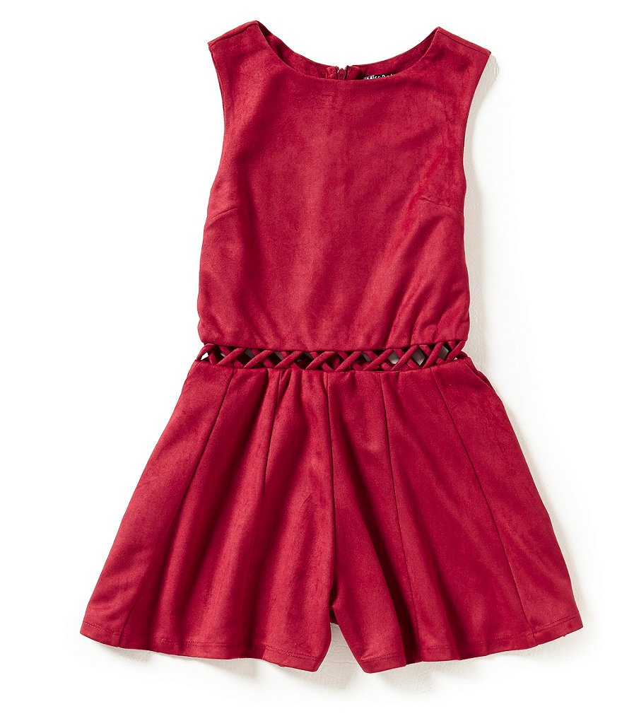 Miss Behave Big Girls 8-16 Amelia Suede Cut-Out Romper