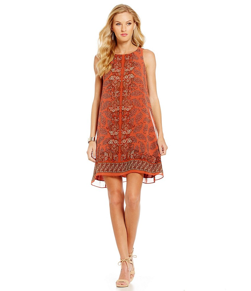 M.S.S.P. Paisley Print Sleeveless Shift Dress