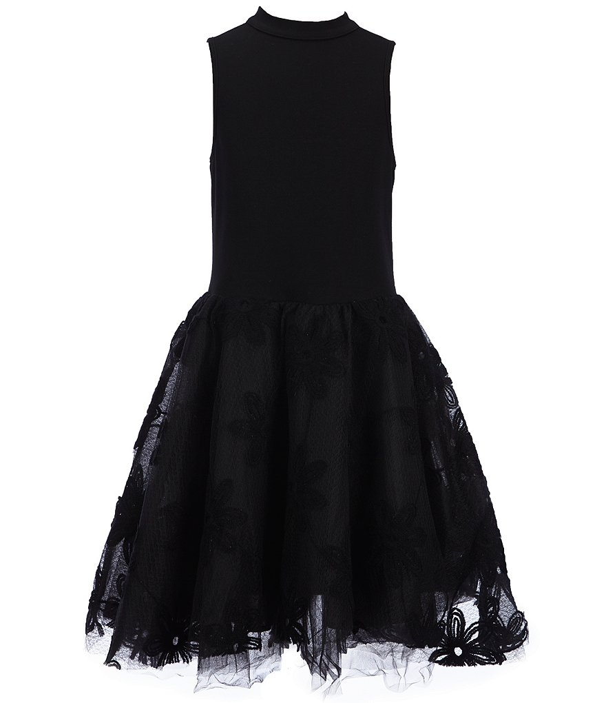 Miss Behave Big Girls 8-14 Grace Mockneck Lace Skater Dress