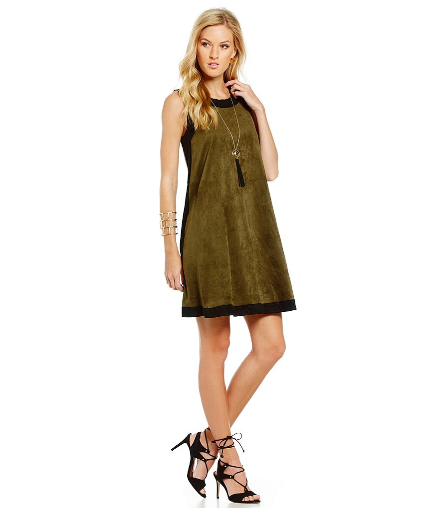 M.S.S.P. Colorblocked Sleeveless A-Line Faux-Suede Dress
