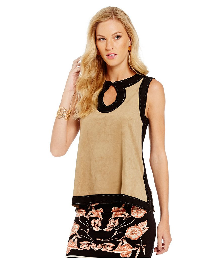 M.S.S.P. Colorblocked Sleeveless Faux Suede Bar-Neck Keyhole Top