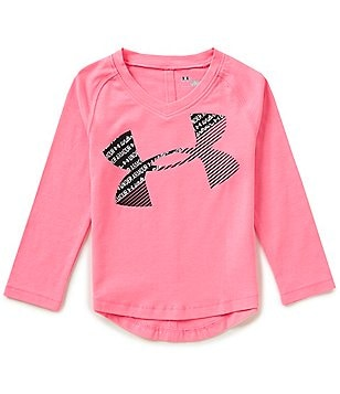 Under Armour Little Girls 2T-6X Scripted Big Logo Long-Sleeve Tee