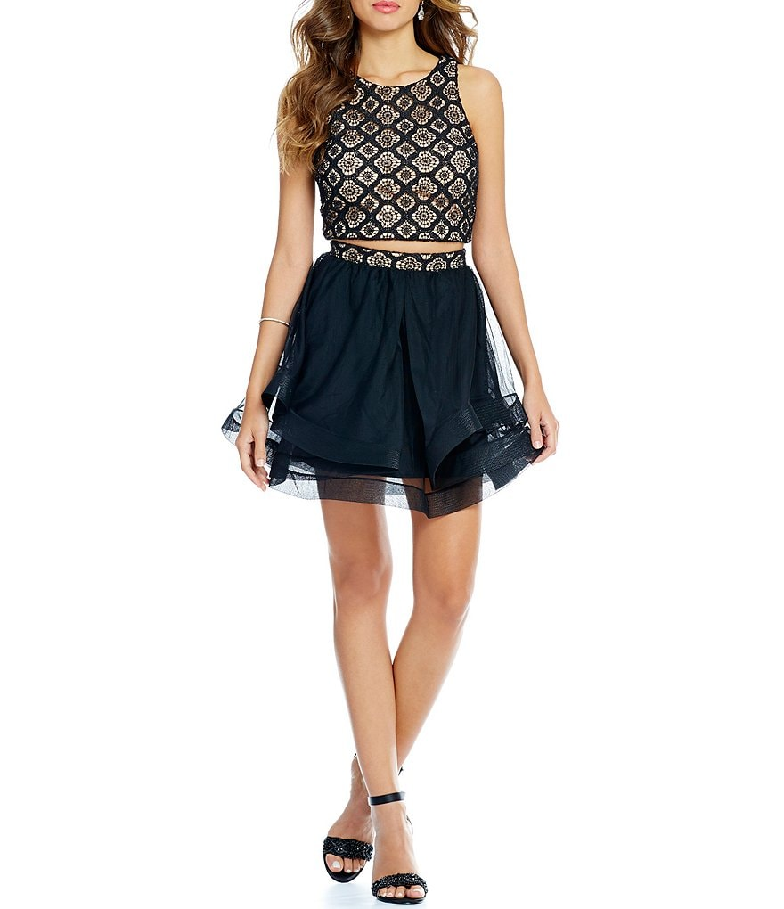 Jodi Kristopher Two Piece Lace Top to Layered Skirt Dress