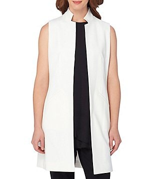 Tahari ASL Sleeveless Bi-Stretch Long Vest