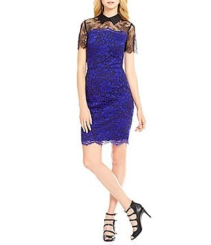KARL LAGERFELD PARIS Collared Lace Sheath Dress