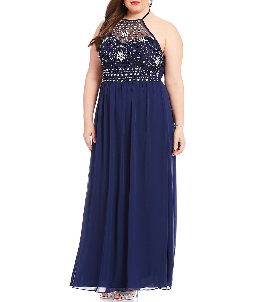 B. Darlin Plus High Neck Beaded Bodice Long Dress