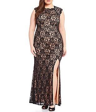 Jodi Kristopher Plus Jeweled Shoulders Long Lace Dress