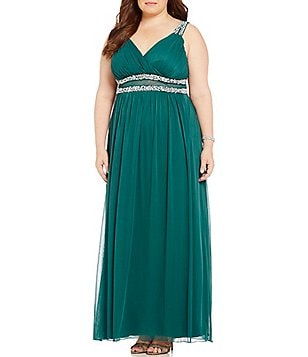 Jodi Kristopher Plus Beaded Trim V-Neck Long Dress