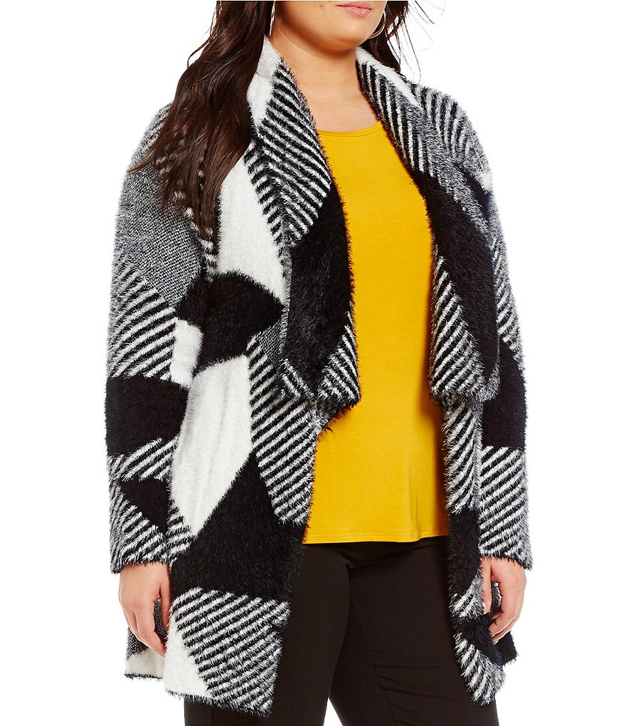 Investments Plus Long Sleeve Eyelash Geometric Cardigan