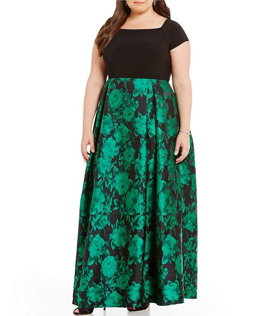 Alex Evenings Plus Off-the-Shoulder Printed Ballgown