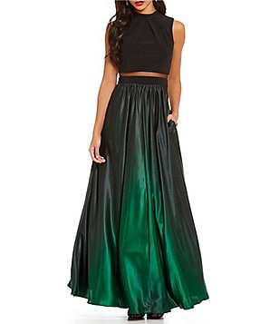 Betsey and Adam Mock Neck Two-Piece Ombre Gown