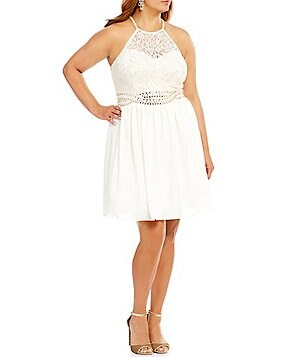 B. Darlin Plus Metallic Lace Embellished Infinity Waist Fit-and-Flare Party Dress