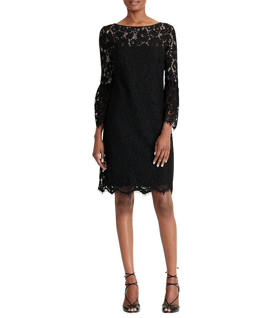 Lauren Ralph Lauren Yalie Bell Sleeve Lace Sheath Dress