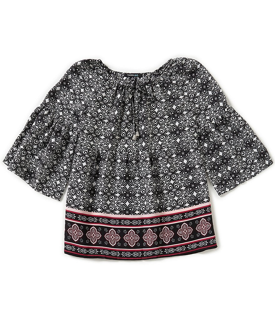 Takara Big Girls 7-16 Bell-Sleeve Border Printed Top