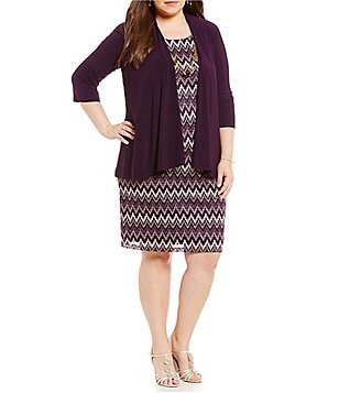 R & M Richards Plus Mock 2-Piece Lace Jacket Dress Set