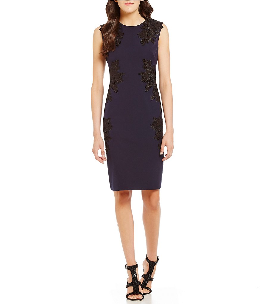 Vince Camuto Lace Sheath Crepe Dress