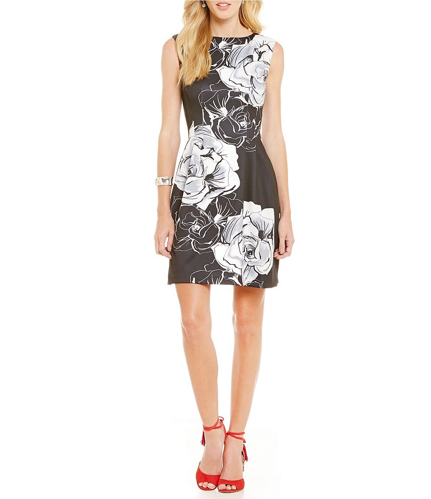 Vince Camuto Floral Scuba Fit-and-Flare Dress