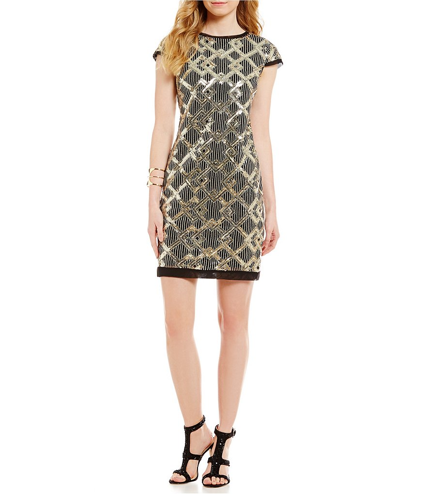 Vince Camuto Cap Sleeve Diamond Sequin Shift Dress
