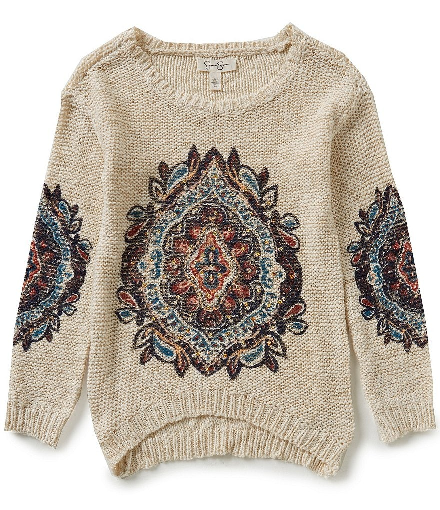 Jessica Simpson Big Girls 7-16 Draya Tribal Print Sweater