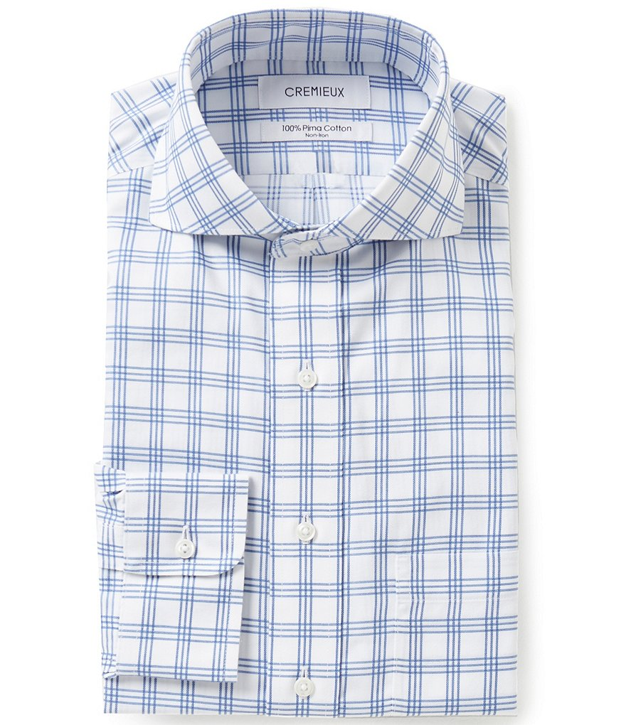 Cremieux Non-Iron Fitted Classic-Fit Cutaway-Collar Checked Dobby Dress Shirt