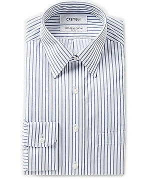 Cremieux Non-Iron Fitted Classic-Fit Point-Collar Striped Twill Dress Shirt