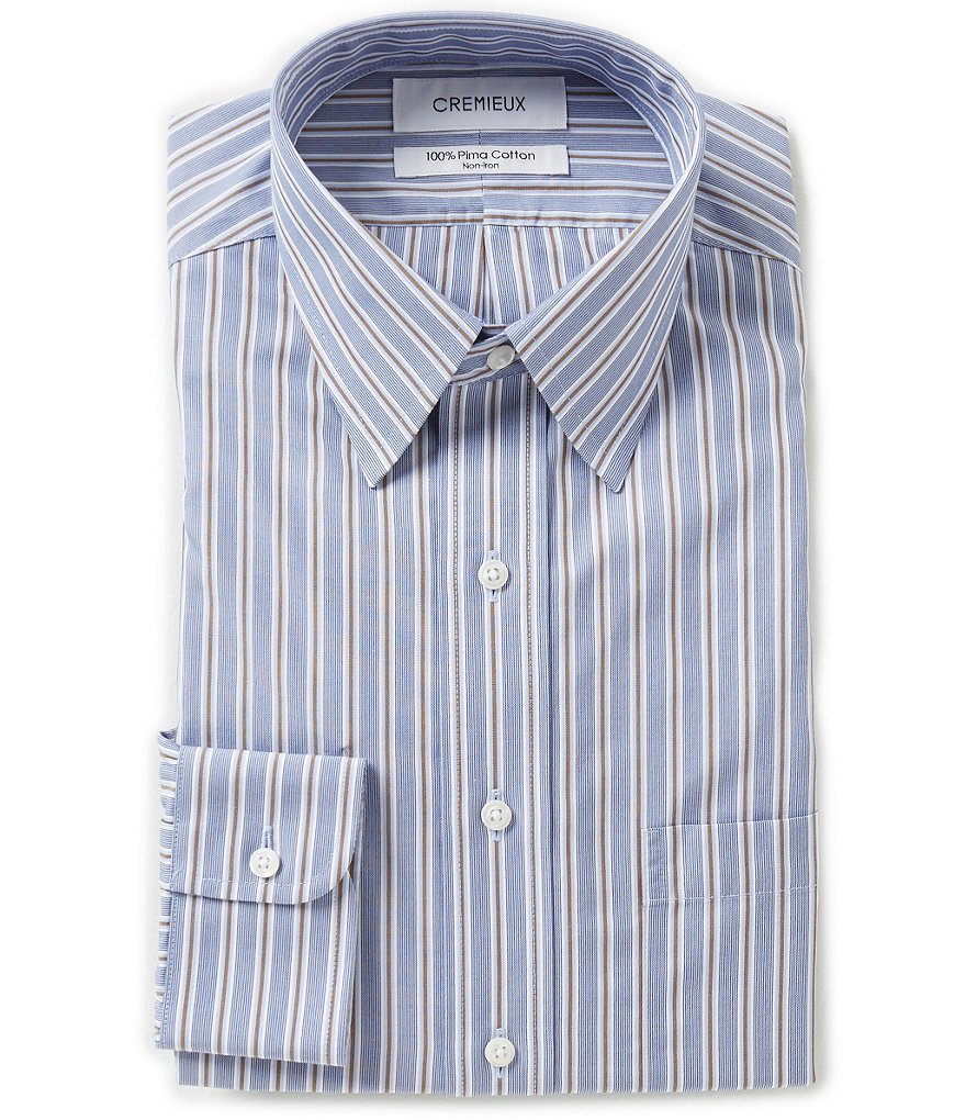 Cremieux Non-Iron Fitted Classic-Fit Point-Collar Striped Dress Shirt