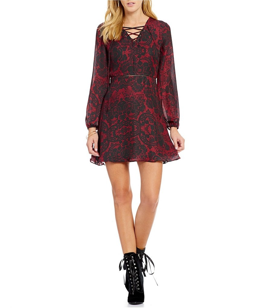 devlin Demi Print Long Sleeve Lace-Up Dress