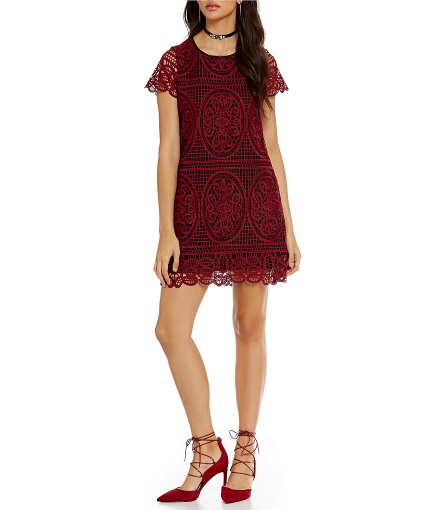 devlin Marisa Corded Lace Short Sleeve Dress