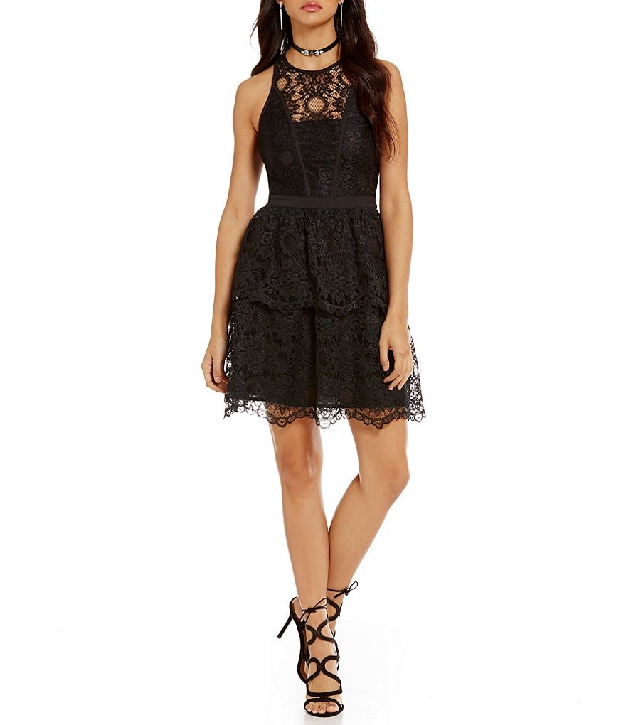 devlin Claire Sleeveless Lace Fit-And-Flare Dress