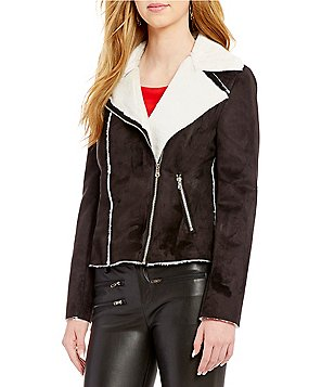 devlin Shayna Notch Collar Zip Front Faux-Shearling Moto Jacket
