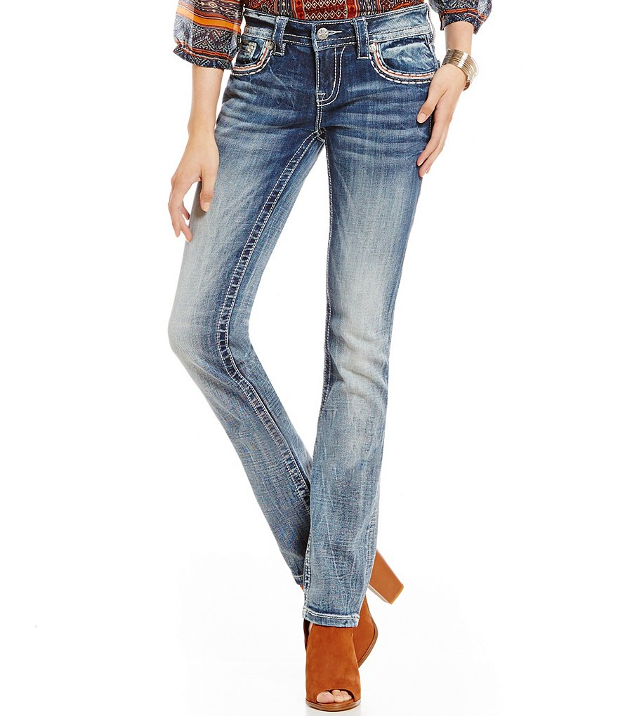 Miss Me Tribal Print Pocket Whiskered Straight Jeans