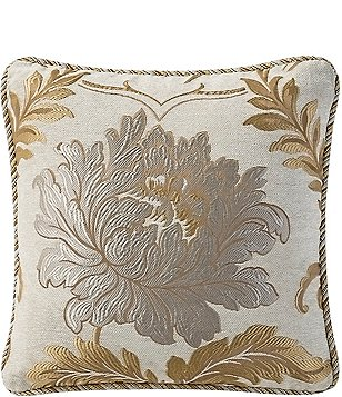 Waterford Ansonia Floral & Scroll Jacquard Square Pillow