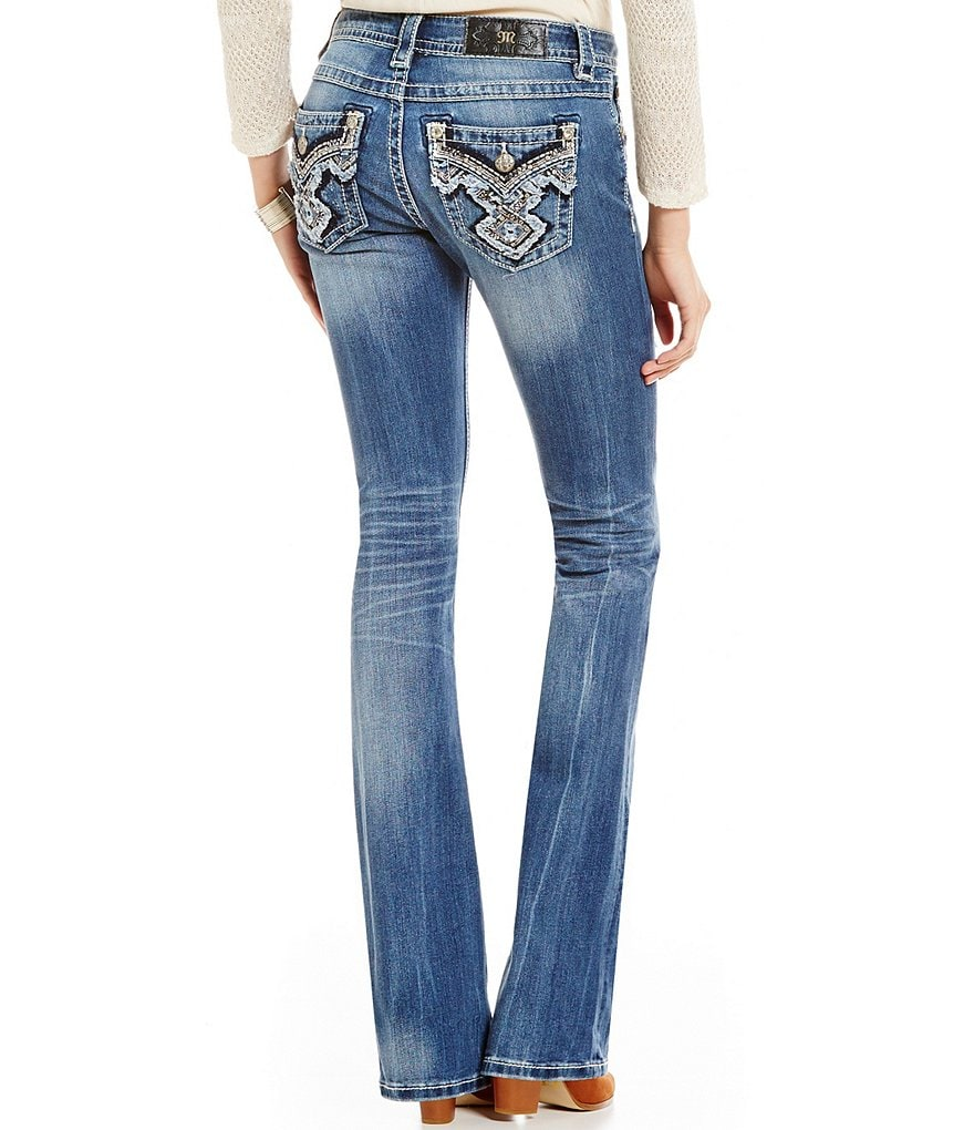 Miss Me Modern Tribal Embroidered Distressed Whiskered Bootcut Jeans