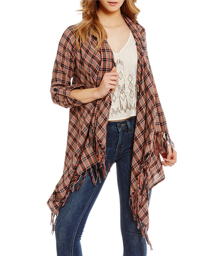 Billabong Liv It Up Plaid Fringe Draped Open Cardigan