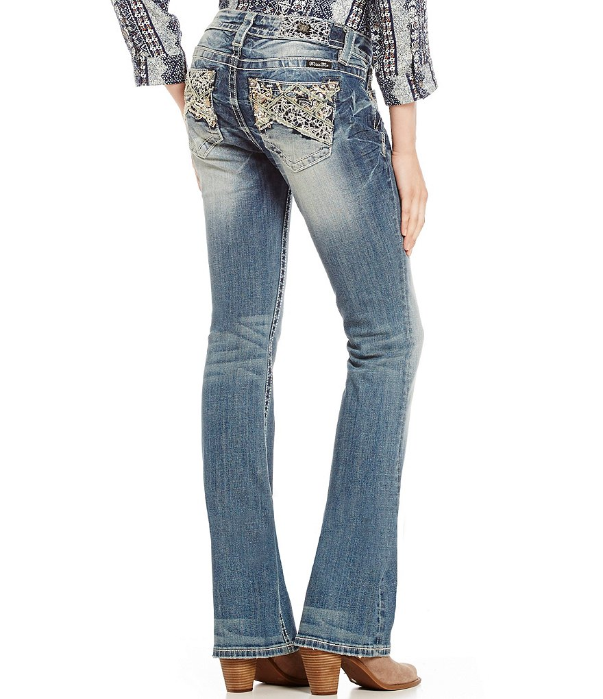 Miss Me Pieced Abstract Embellished Bootcut Jeans