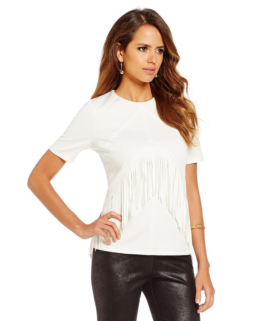 Gianni Bini Micha Fringe Short Sleeve Tee