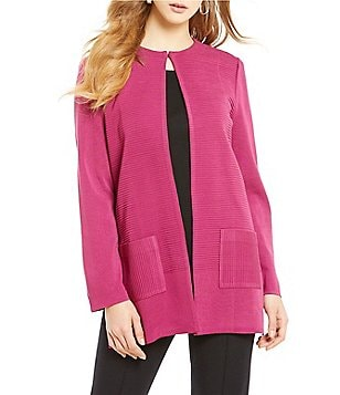 Misook Jewel Neck Ottoman Stitch Open Front Cardigan Jacket