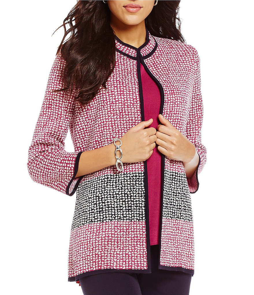 Misook Mandarin Collar Open Front Mini-Check Pattern Jacket