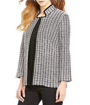 Misook Mandarin Collar Open Front Tweed Stitch Jacket