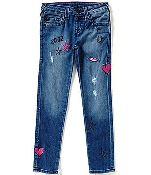 True Religion Big Girls 7-16 Casey Doodle Graphic Print Distressed Jeans