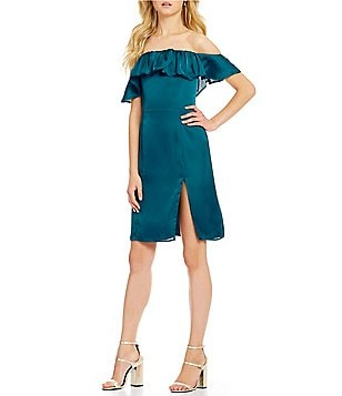 Lovers + Friends Spade Side Slit Ruffle Off The Shoulder Dress