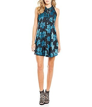 Lovers + Friends Blossom Floral Mock Neck Sleeveless Dress