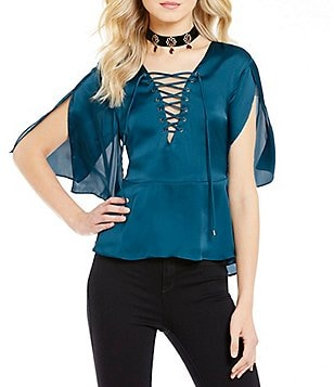 Lovers + Friends Boulevard Lace Up Flutter Sleeve Top