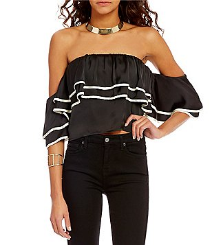 Lovers + Friends Dancer Off-the-Shoulder Ruffle Crepe Crop Top