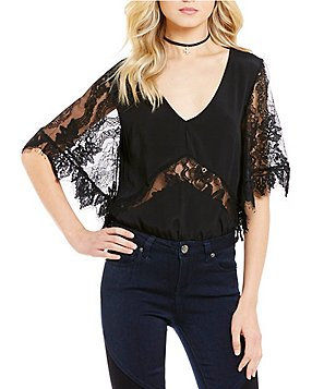 Lovers + Friends Senorita Lace Flutter Sleeve Bodysuit