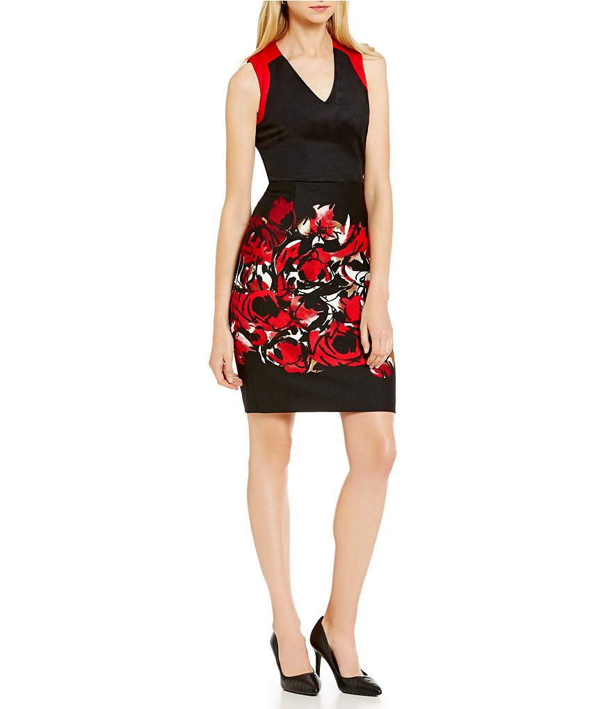 KARL LAGERFELD PARIS Faux Suede and Scuba Floral Dress