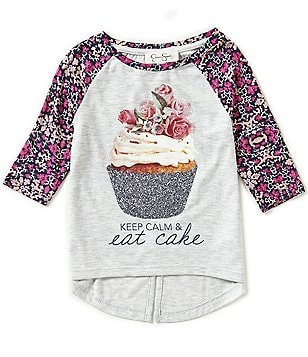 Jessica Simpson Little Girls 2T-6X Ella Cupcake Long-Sleeve Split-Back High-Low Tee